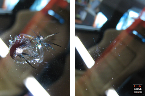 飛び石のヒビ修理写真